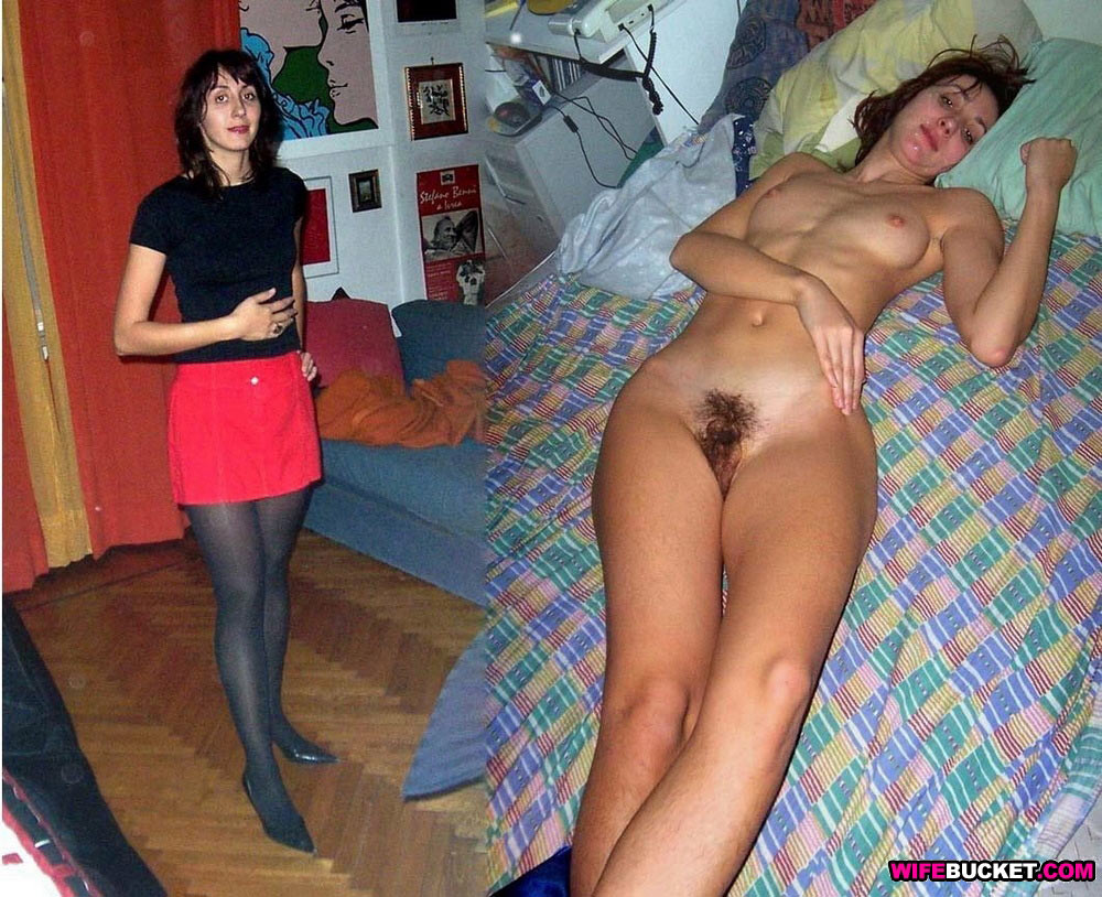 Before-after nudes of real wife with hairy pussy