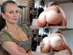 Before-after sex video of mature wife riding a cock