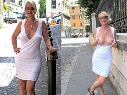 Before and after this housewife flashed her big tits in public