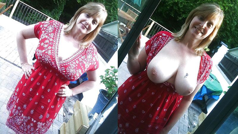 Wife tits stranger