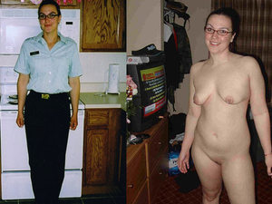 Before-after amateur video of this mature police officer in and out of her real uniform - I don't know if she can protect but she serves cock alright.