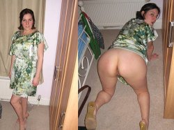 Before-after sex video of a chubby MILF going commando