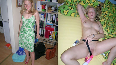 Dressed-undressed video from a blonde MILF wife