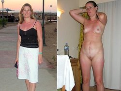 Dressed-undressed nudes of real amateur MILF