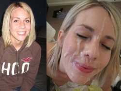 Before-after video of young wife getting a big facial cumshot