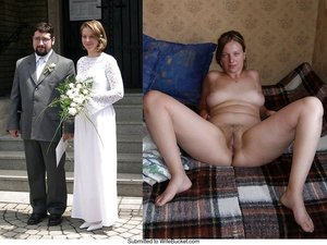 Every woman deserves to be a bride and every man deserves to see a naked bride! 😉 In case you didn't have the chance or just want to recreate this sexy moment, here comes a mixed gallery of amateur brides in before-after nude pictures! Here cums the bride...