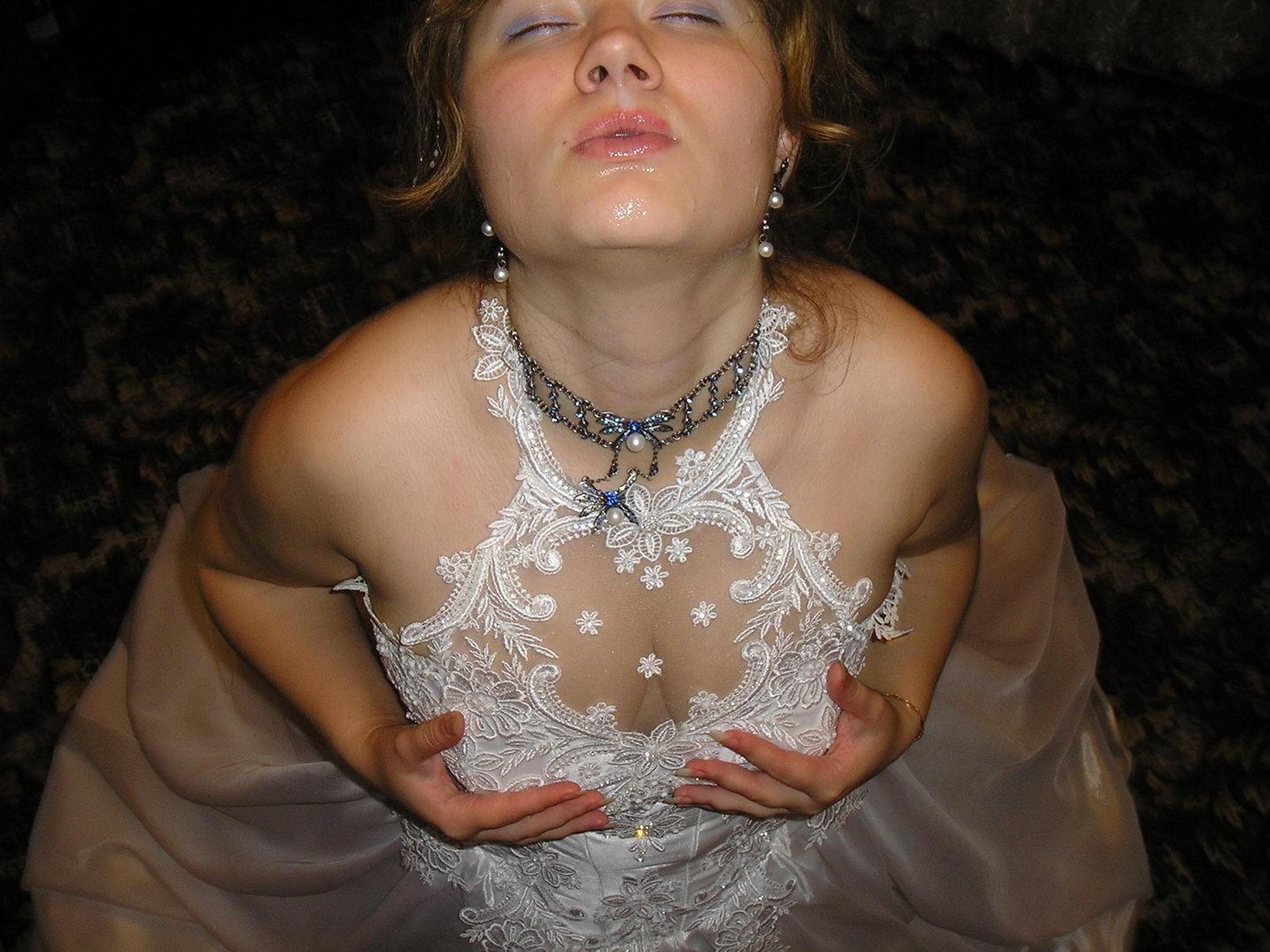 Big facial cumshot for a real bride