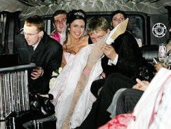 Amateur bride rides the limo without panties