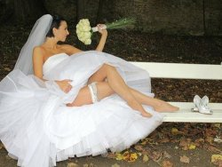 MILF bride flashes her lingerie outdoor in the public park