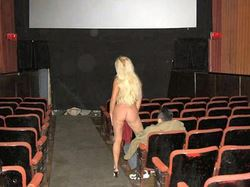 Older amateur slut gangbanged in the adult theater