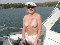Mature wife nude on a yacht