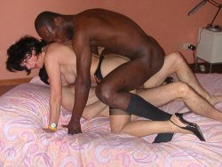 Mature cuckoldress shared between her husband and a black guy