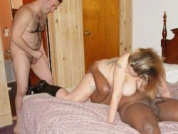 MILF slut gets split-roasted between her cuckold husband and a big black guy
