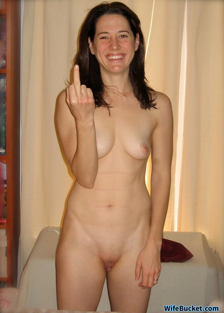 Nude and giving you the finger