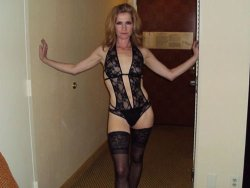 Mature slut in see-thru lingerie