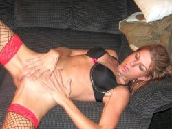 WifeBucket Pics | Skinny MILF wife fingers herself on the sofa
