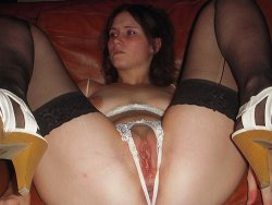 WifeBucket Pics | Wife in crotch-less panties spreading wide