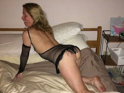 WifeBucket Pics | Skinny older wife in fishnet lingerie
