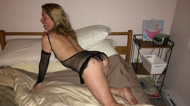 Skinny older wife in fishnet lingerie
