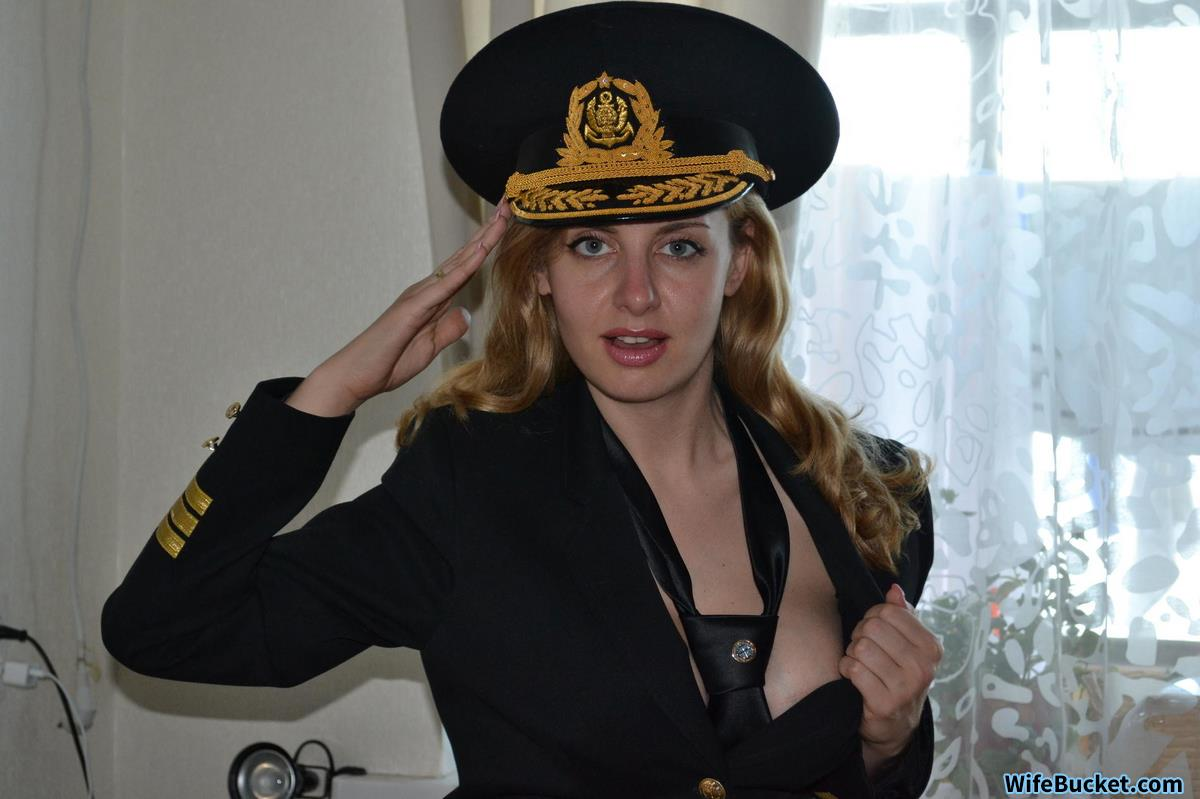Sexy amateur wife in uniform