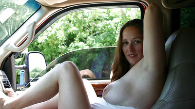 Chubby, big-tit MILF wife gets naked in the car