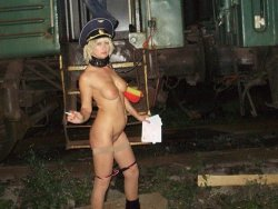 Kinky Russian MILF is naked and paraded at the train station