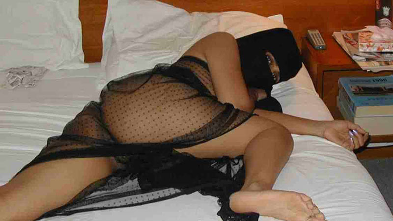 WifeBucket Pics | Chubby Arab wife in a hijab and sexy see-through lingerie