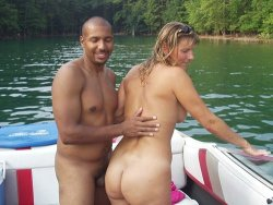 Chubby wife fucked by a black guy on a river boat