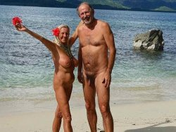 Mature couples at nude beach