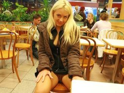 Blonde wife goes in public without panties