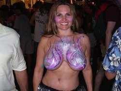 Exhibitionist MILF flashes her big tits