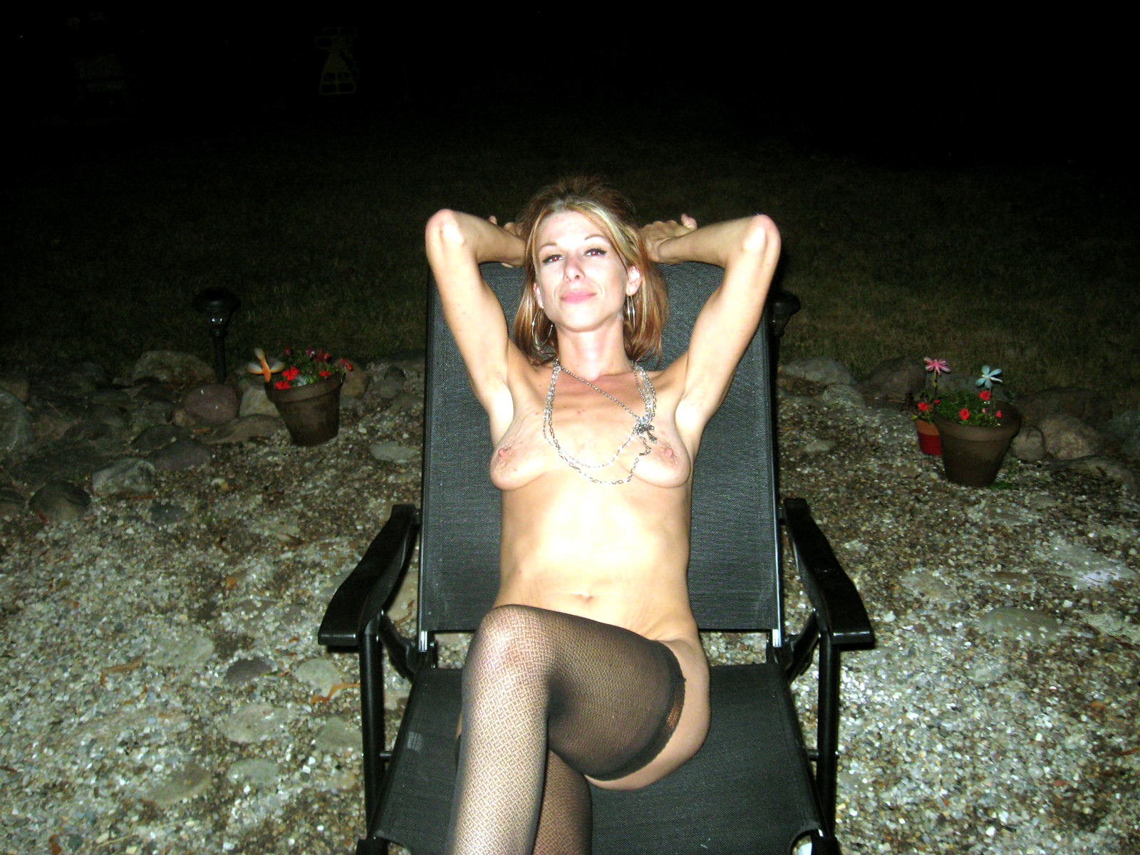 Cheating wife naked outdoor