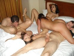 Real amateur couples having an orgy at home