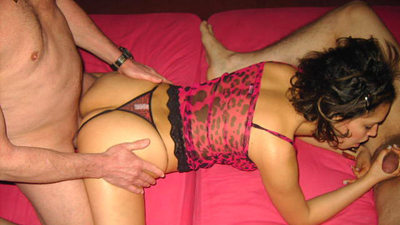 Horny MILF wife in lingerie split-roasted in a homemade threesome