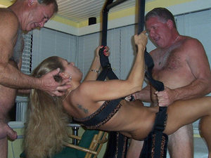 Older amateur slut gets gangbanged at home while relaxing on the new sex swing.