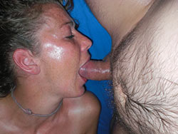 Ginger wife gives a deepthroat blowjob