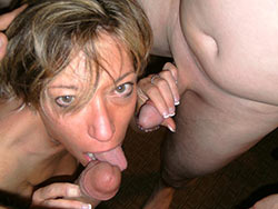 Cheating wife double blowjob