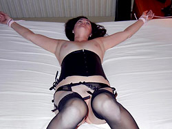 Sub mature wife bed bondage