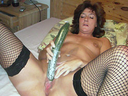 Mature wife fucking a big vegetable
