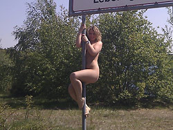 Outdoor blowjob pics from a real exhibitionist MILF