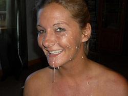 Hot MILF gets a huge facial cumshot