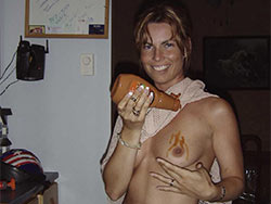 Slutty MILF naked at home