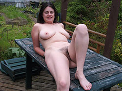 Mature wife naked outdoor